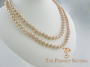 "pink pearl double strand 36"" necklace X gold clasp"