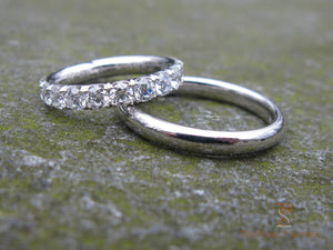 His & Hers Diamond Eternity and Platinum Wedding Bands