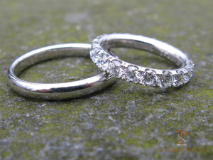 His & Her Diamond Eternity & Platinum Wedding Bands