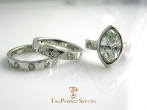 Marquise Diamond Bezel Set Ring with matching wedding band