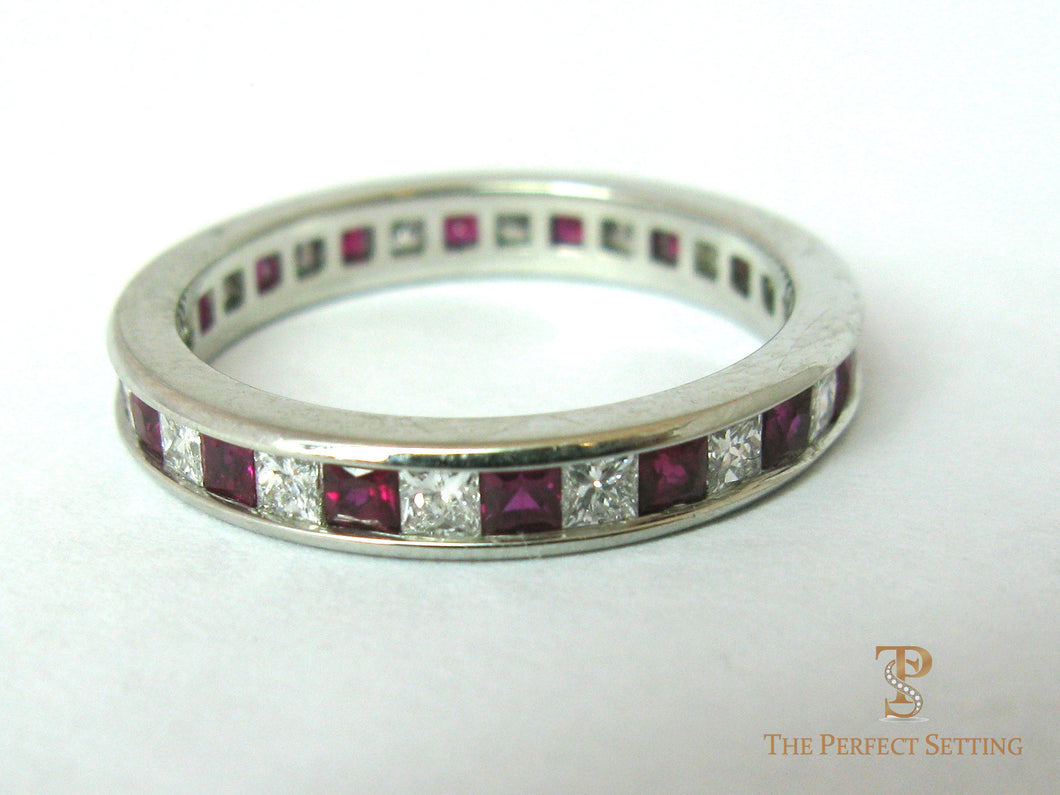 Princess Cut Diamond and Ruby Eternity Ring