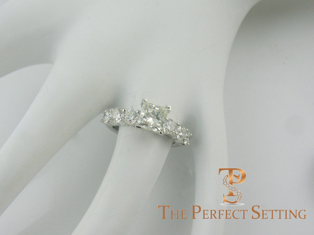 princess cut diamond engagement ring with diamond band