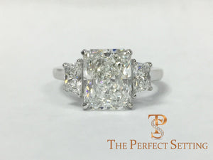 Radiant Cut 3.0 ct Custom Diamond Engagement Ring in Platinum
