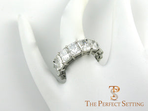 Radiant Cut Diamond Eternity Band 11 ctw on finger