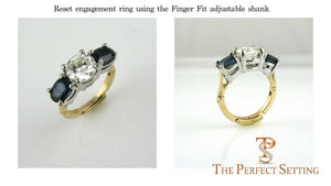 Reset engagement ring for arthritic fingers