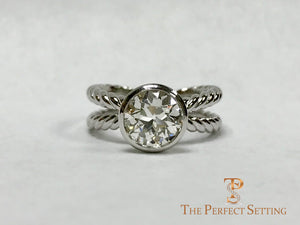 Rope Ring with Bezel Set Diamond Solitaire