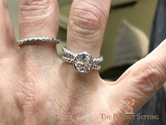 Rope Ring with Bezel Set Diamond Solitaire on Finger