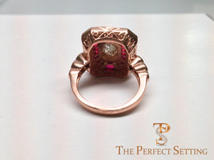 Ruby Diamond Scroll work ring
