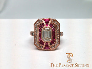 Diamond Ruby Rose Gold Edwardian Ring