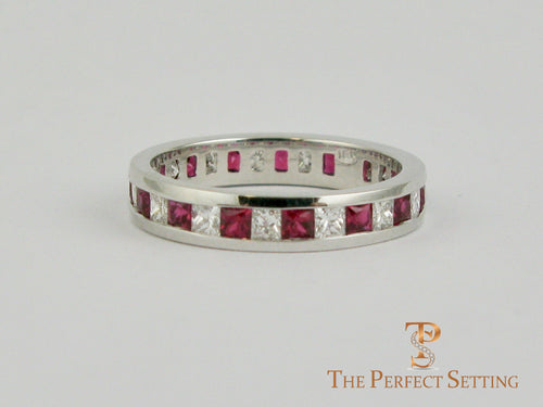 Ruby Diamond Princess Cut Channel Wedding Ring