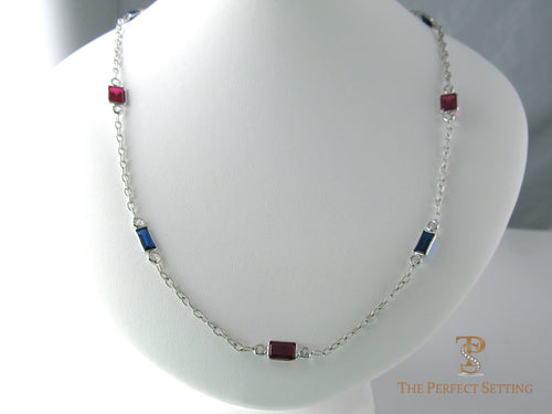 Ruby and Sapphire Bezel Set Necklace