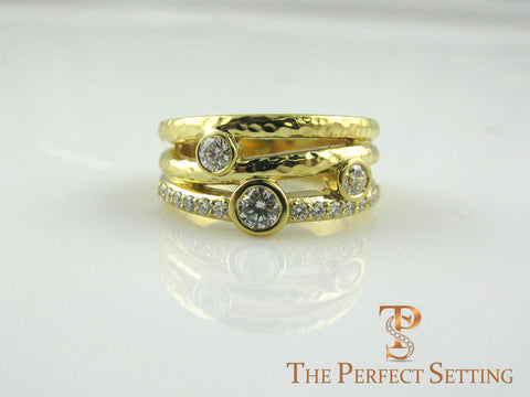 Rustic diamond right hand ring yellow gold