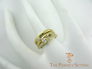 Rustic diamond right hand ring yellow gold on finger
