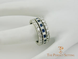 Sapphire Diamond Princess Cut Channel Wedding Ring
