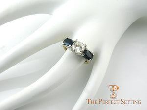 Diamond and sapphire three stone ring expandable band
