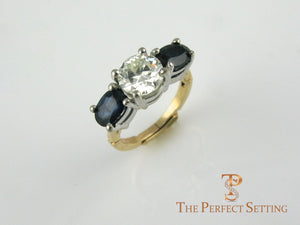 Oval Sapphire and Round Diamond Engagement Ring