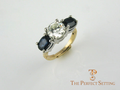 Custom sapphire and diamond engagement ring adjustable shank