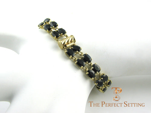 Sapphire and Gold Tennis Bracelet