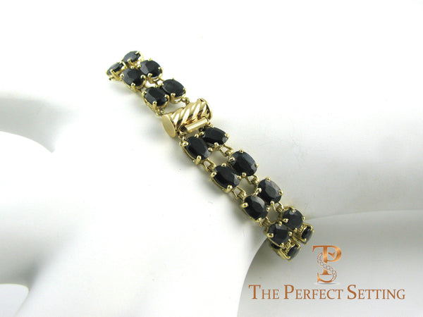Sapphire and Gold Double Tennis Bracelet