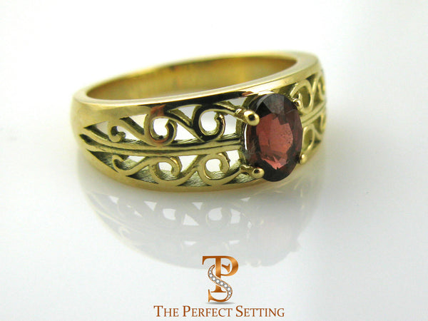 18K Yellow Gold Scroll Ruby Ring