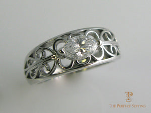 Gold Scroll Ring w/Marquise Diamond