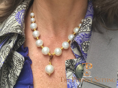 South Sea Pearls and Leather Necklace with 18K Yellow Gold Accents
