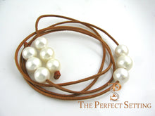 Load image into Gallery viewer, south sea pearls on kangaroo leather cord
