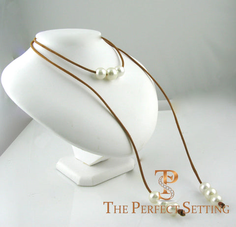 south sea pearls on kangaroo leather cord