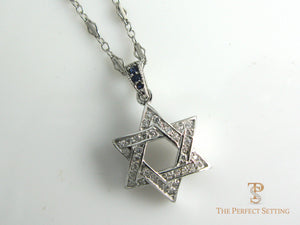 Star of David with Diamond and Sapphire Necklace