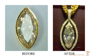 resetting marquise yellow diamond to pendant