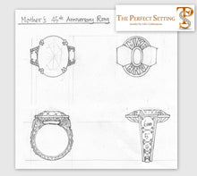 Load image into Gallery viewer, Original Sketch - Custom Alexandrite Diamond Anniversary Ring