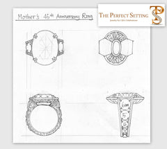 Original Sketch - Custom Alexandrite Diamond Anniversary Ring