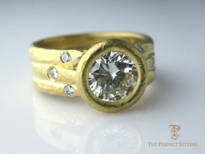 rustic diamond bezel set engagement ring