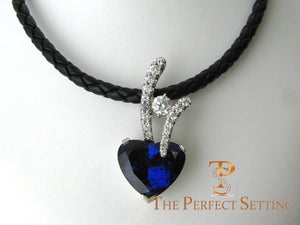 Tanzanite Heart and Diamond Pendant Enhancer on leather cord