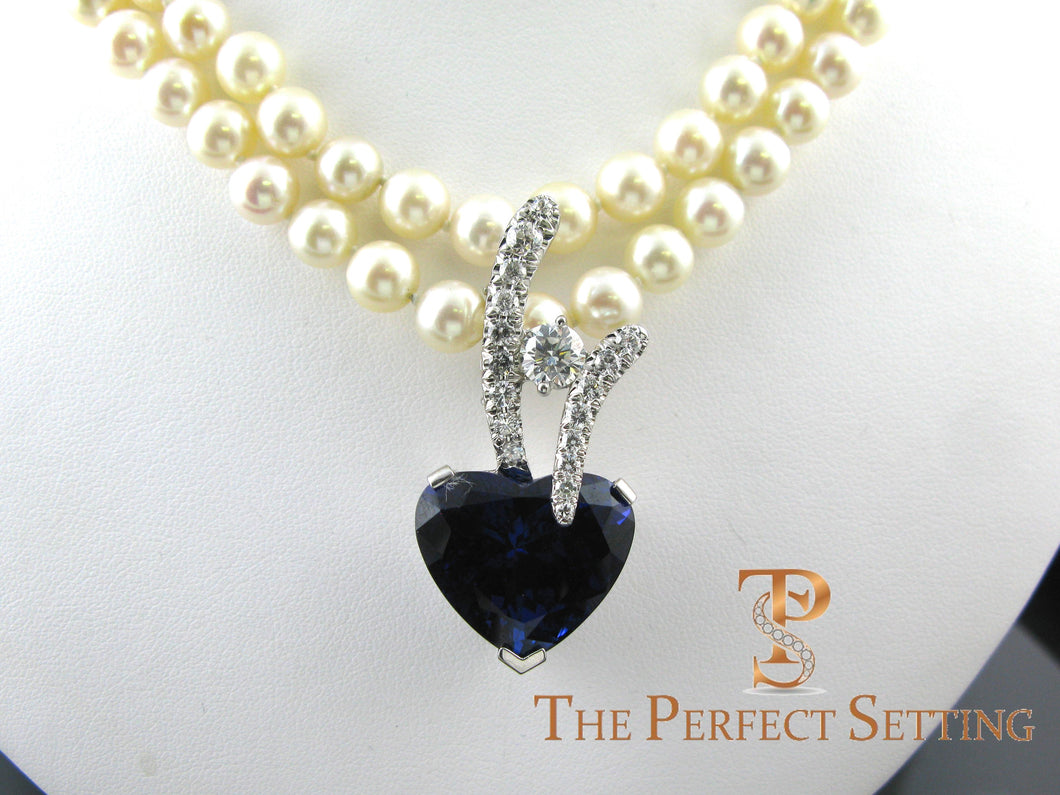 Tanzanite Heart and Diamond Pendant Enhancer