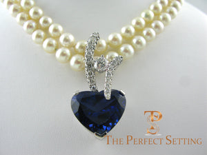 Tanzanite Heart and Diamond Pendant Enhancer on pearls