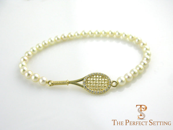 tennis racquet bracelet gold diamonds pearl