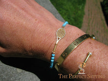 Load image into Gallery viewer, tennis bracelet gold diamond turquoise on wrist