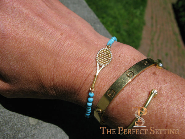 Tennis Racquet Bracelet Gold Diamond Turquoise The