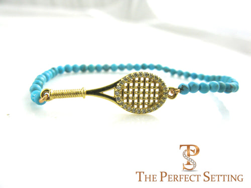 tennis bracelet gold diamond turquoise