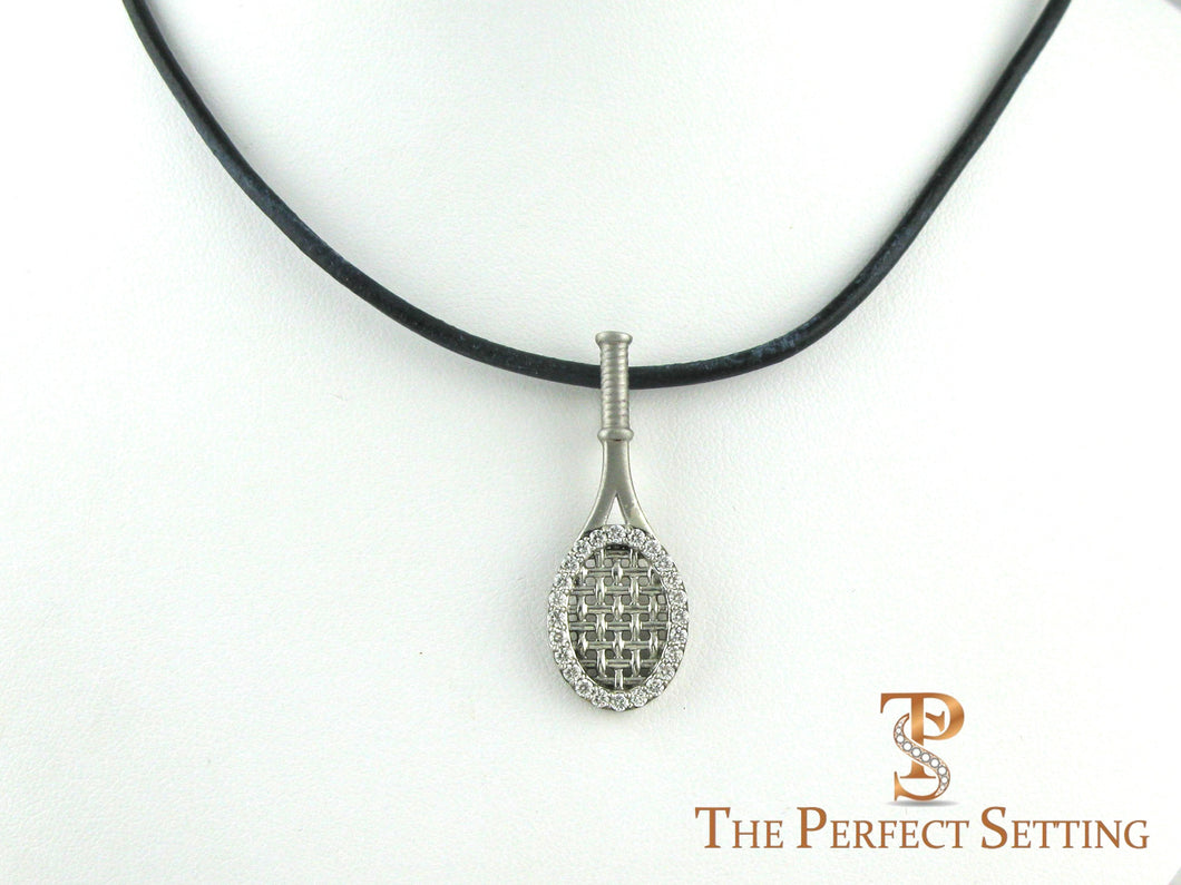 Tennis Racquet Pendant with Diamonds Sterling Silver