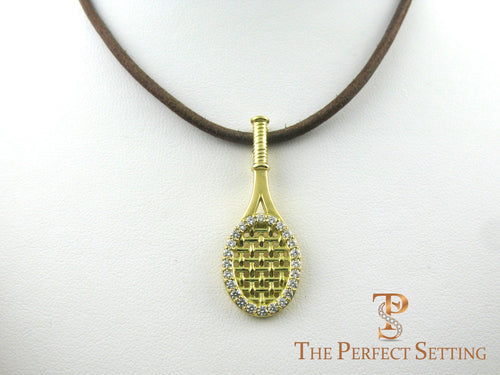 Tennis racquet 18K gold pendant diamonds leather cord