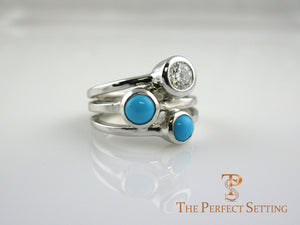 Diamond Turquoise Three stone custom ring