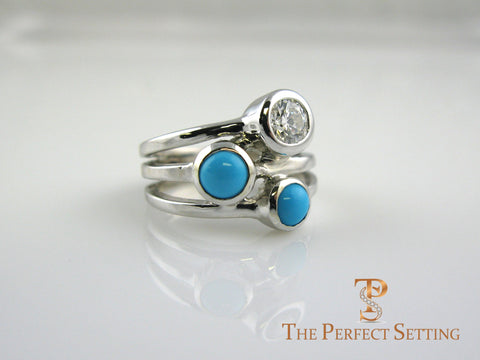 Diamond Turquoise Gold Three Stone Bezel Ring