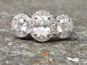Oval Round Diamond Halo Ring