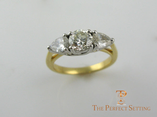 Pear and Round Diamond Three Stone Engagement Ring