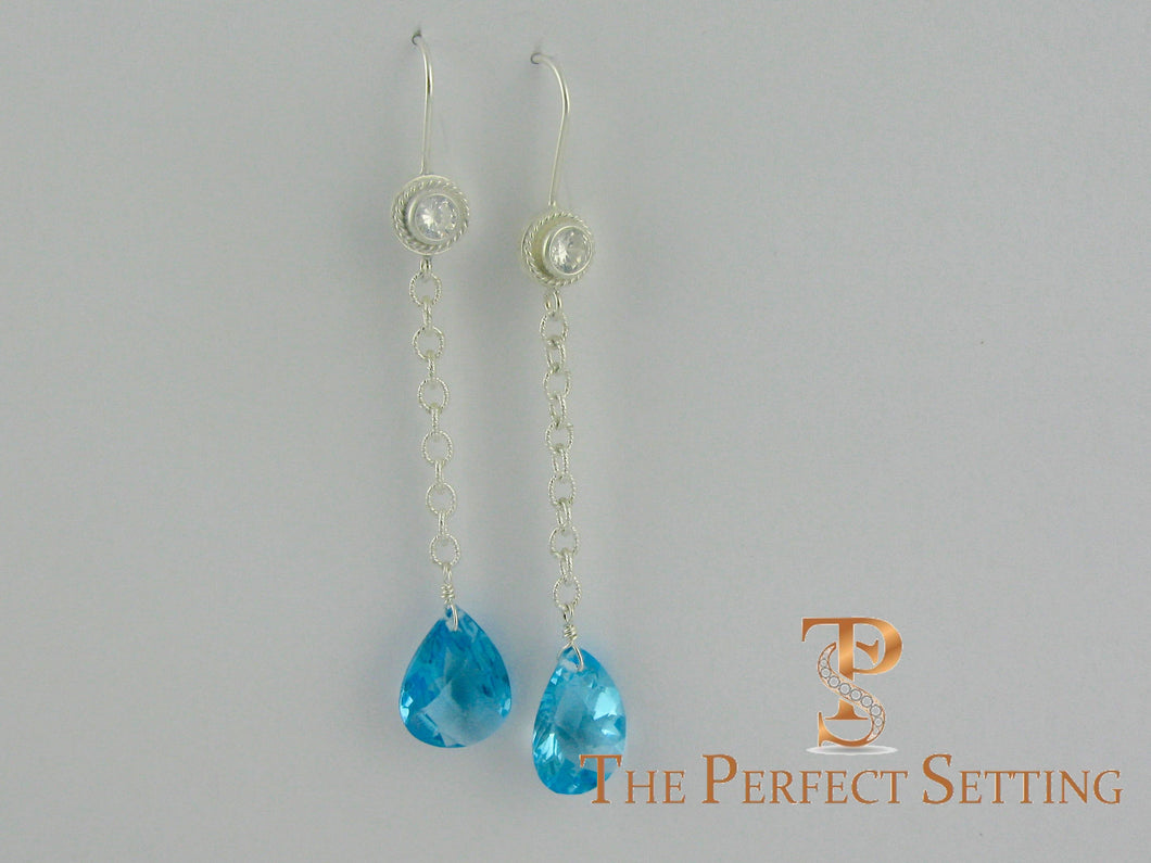 Topaz and Sterling Earrings on Wire - Bridesmaid Gift