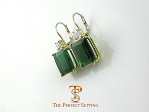 Dark Green Tourmaline and Diamond Earrings side view
