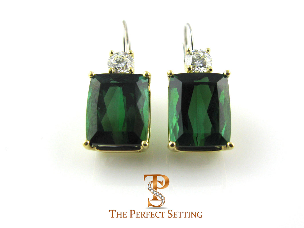 Dark Green Tourmaline and Diamond Earrings