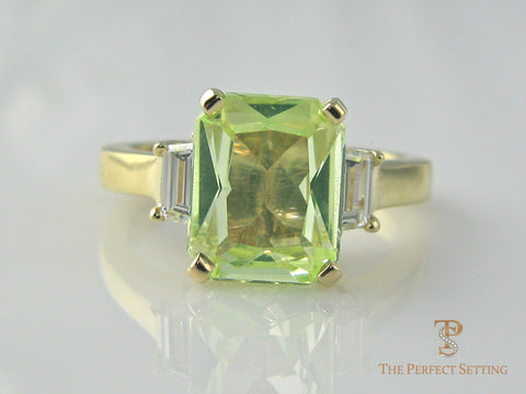 Emerald Cut Tourmaline Engagement Ring